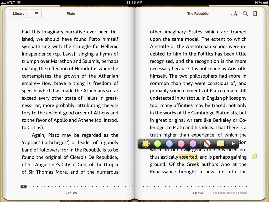 In The Previous Version Of Ibooks, Thepleted Note Displayed A Small  Icon In The Margin That You Could Tap To View The Note In Context, And That  Icon Had