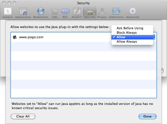 how to add java to safari