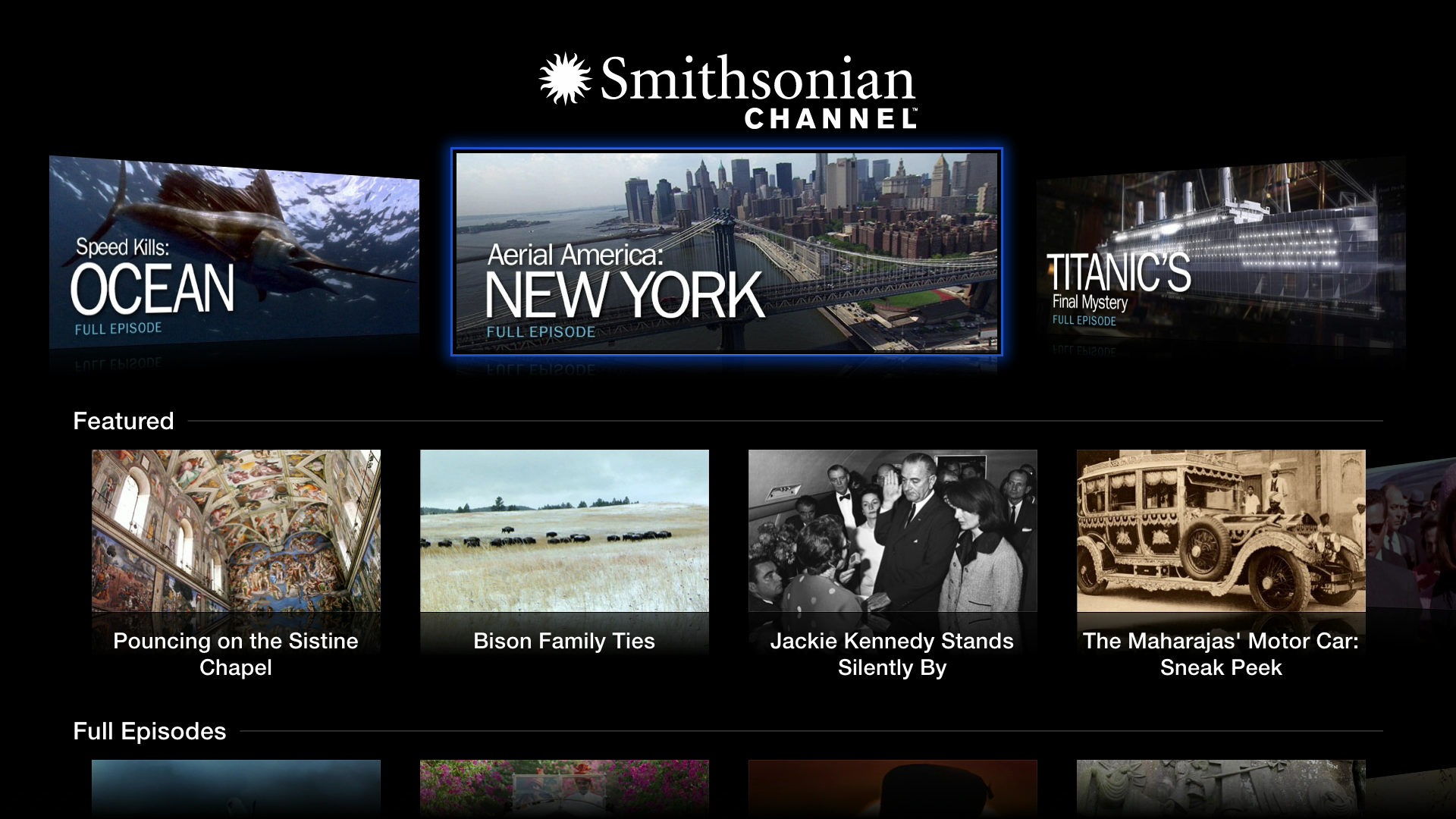 Figure 3: The Smithsonian Channel offers free, high-quality educational content. All Apple TV video apps share a similar layout.