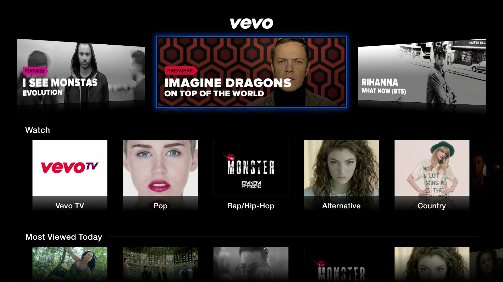 Figure 4: Vevo offers an extensive music video library, including a number of genre stations.