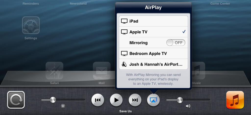 Figure 3: To activate AirPlay in iOS 6, bring up the multitasking bar and swipe it to the right to reveal the AirPlay button.