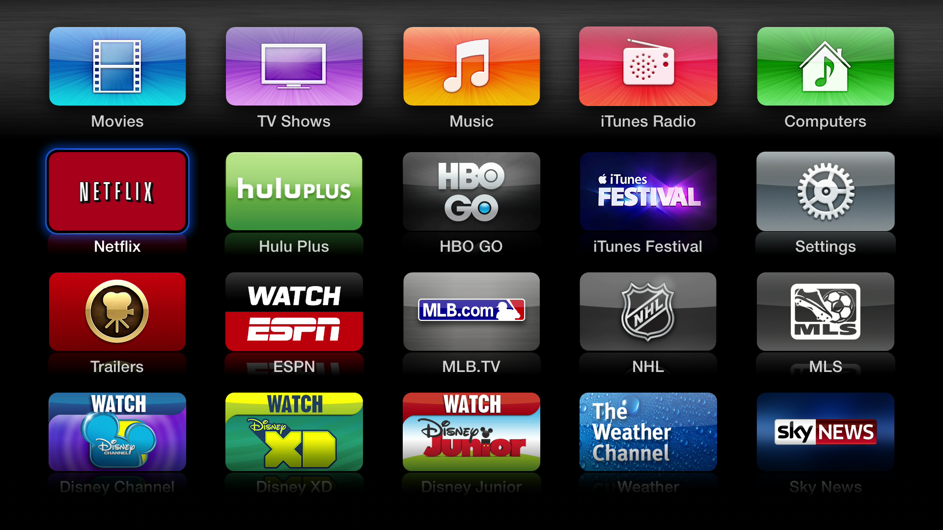 Figure 1: The first page of built-in Apple TV apps. The top row is always visible, and those apps cannot be moved.