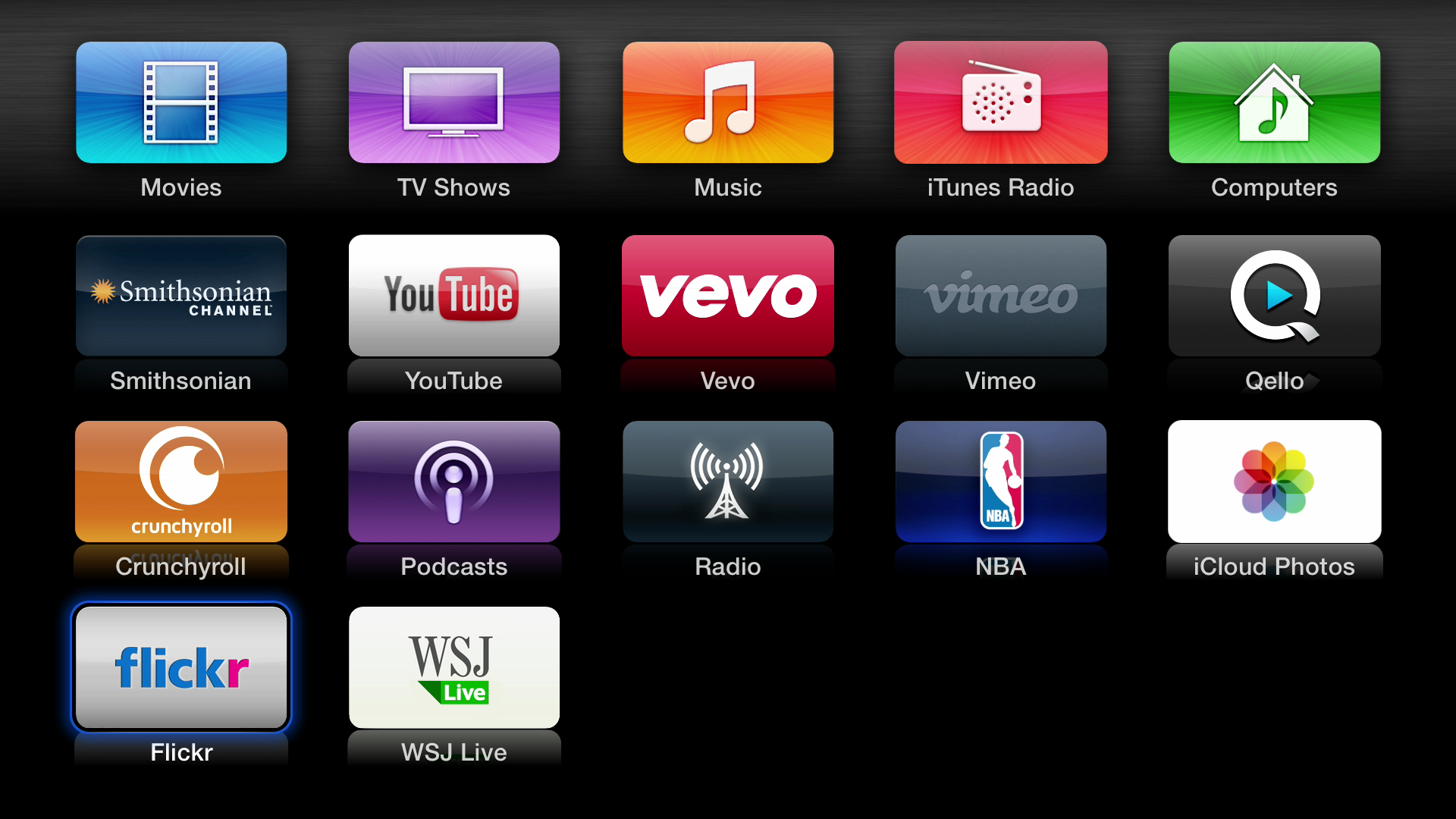 Figure 2: The second page of Apple TV apps. Apart from those in the top row, you can move an icon around by selecting it and pressing Select until the icon begins to shake. Use the directional controls to move the icon, and then press Select again to finish.