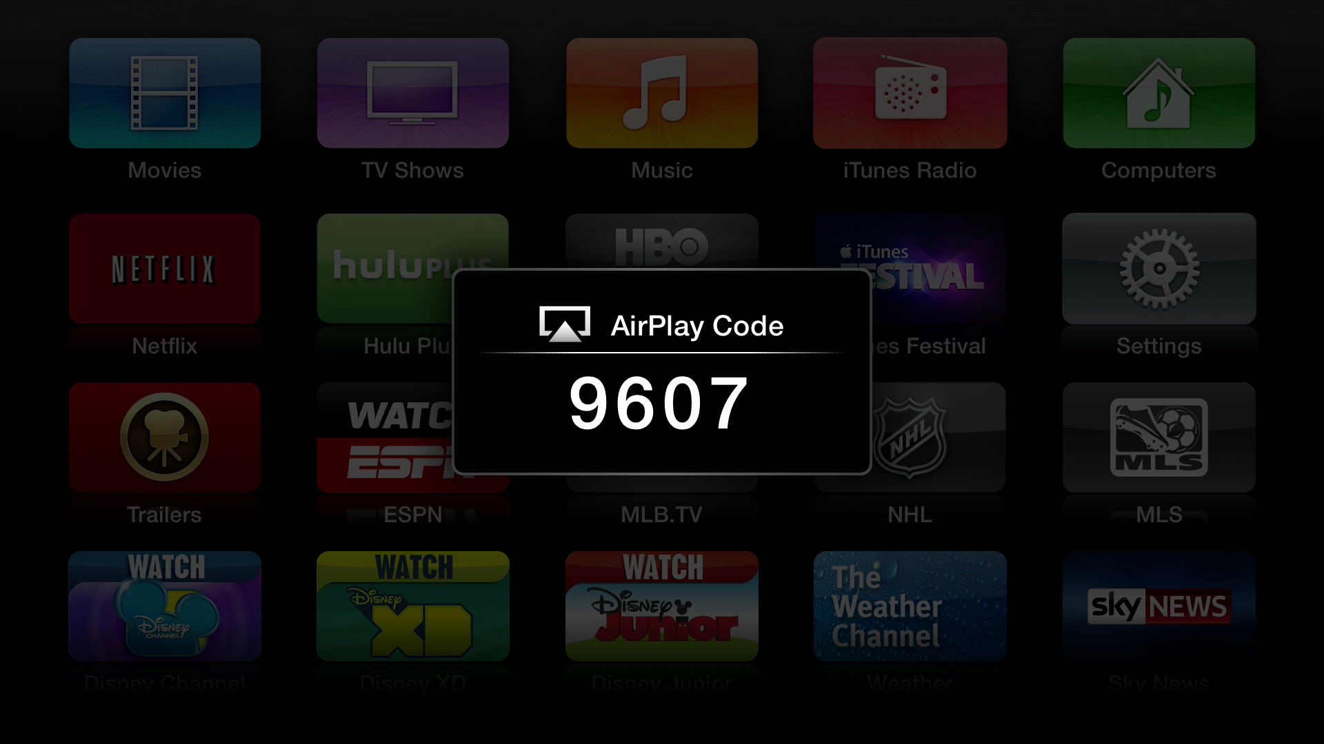 Figure 1: An AirPlay Code keeps the neighbors from sending media to your Apple TV via AirPlay, but makes it easy for friends and family to beam their content to the big screen.