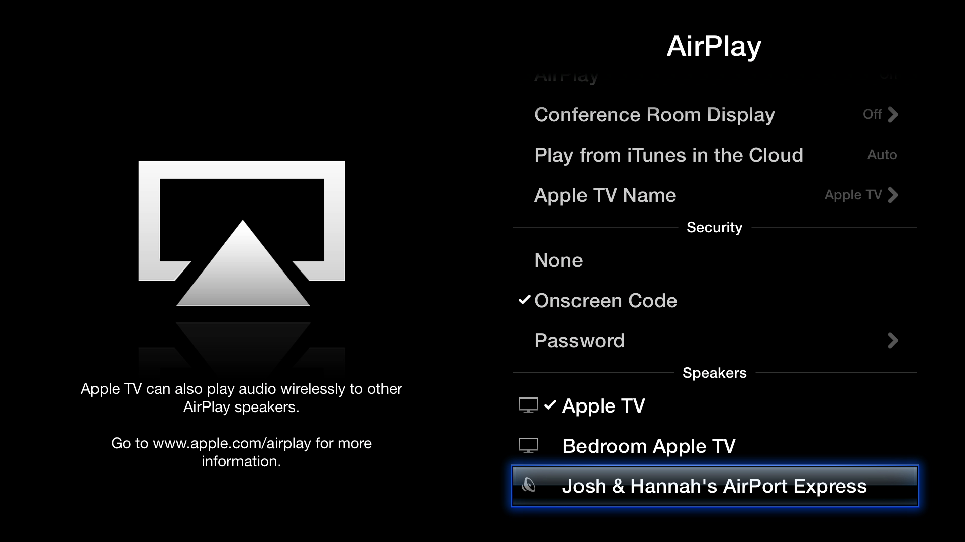 Figure 9: You can send audio from the Apple TV to any AirPlay receiver — even another Apple TV!