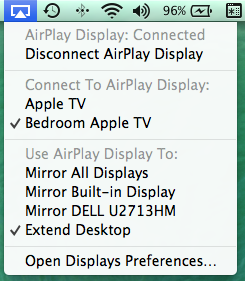 Figure 6: The AirPlay menu in the menu bar gives you quick access to all of your AirPlay Mirroring and AirPlay Display options.