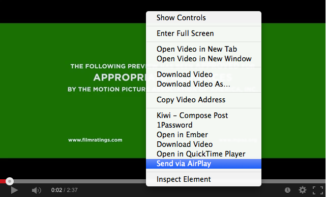 Figure 8: Once Media Center is configured, you can AirPlay any HTML 5 video with a couple of clicks.