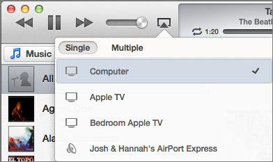 Figure 5: In iTunes 11, sending audio or video to your Apple TV is as simple as clicking the AirPlay icon and selecting your Apple TV from the list.