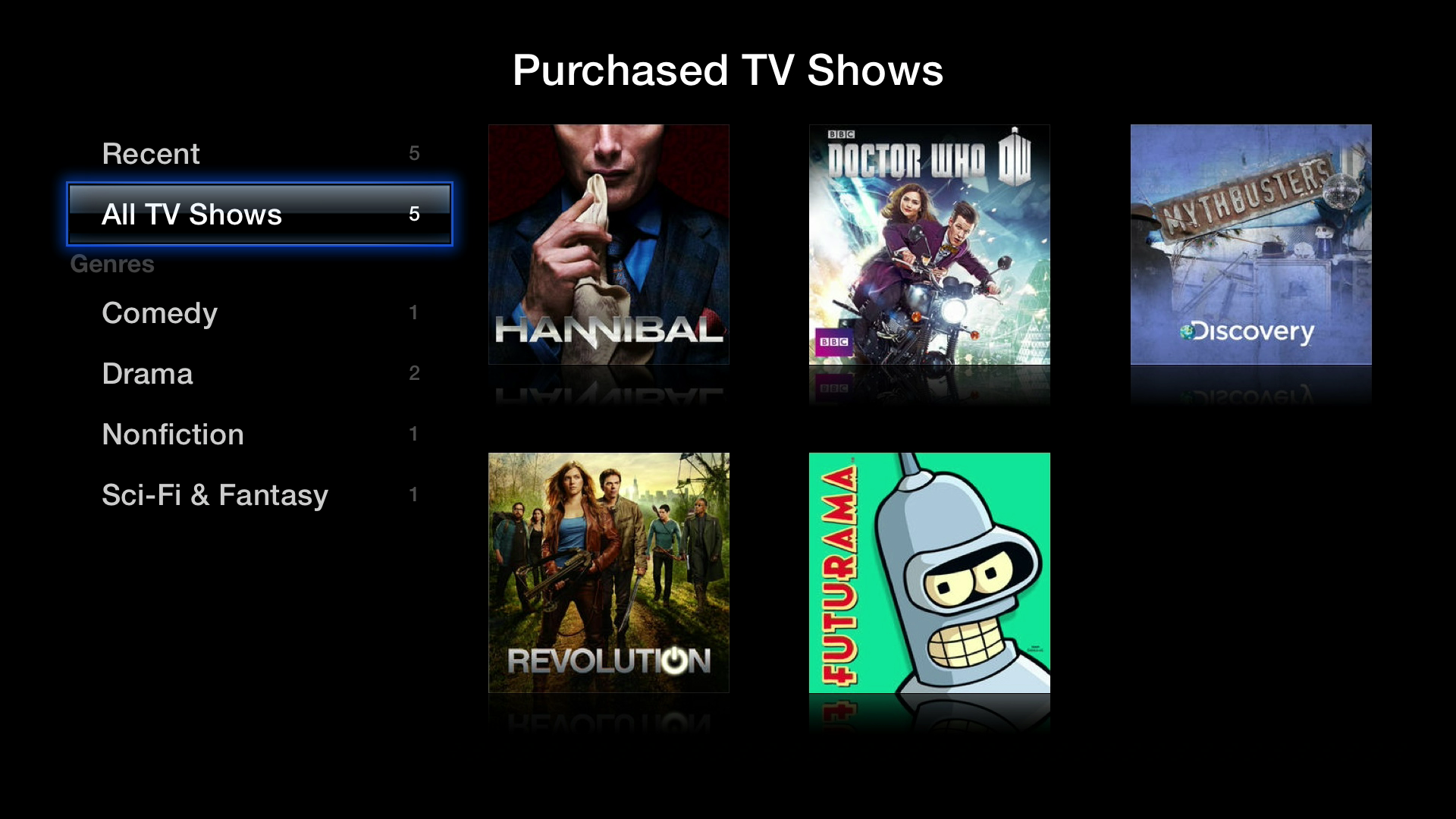 Figure 9: You can access almost all your past iTunes purchases at any time. They're split into recent purchases, all purchases, and genres.