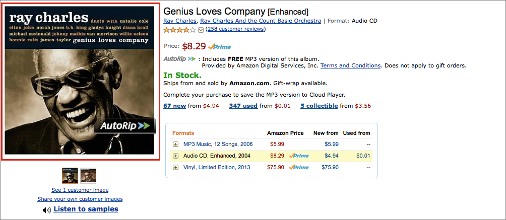 Figure 17: Search Amazon for the CD you need artwork for, then click the album art at the left.