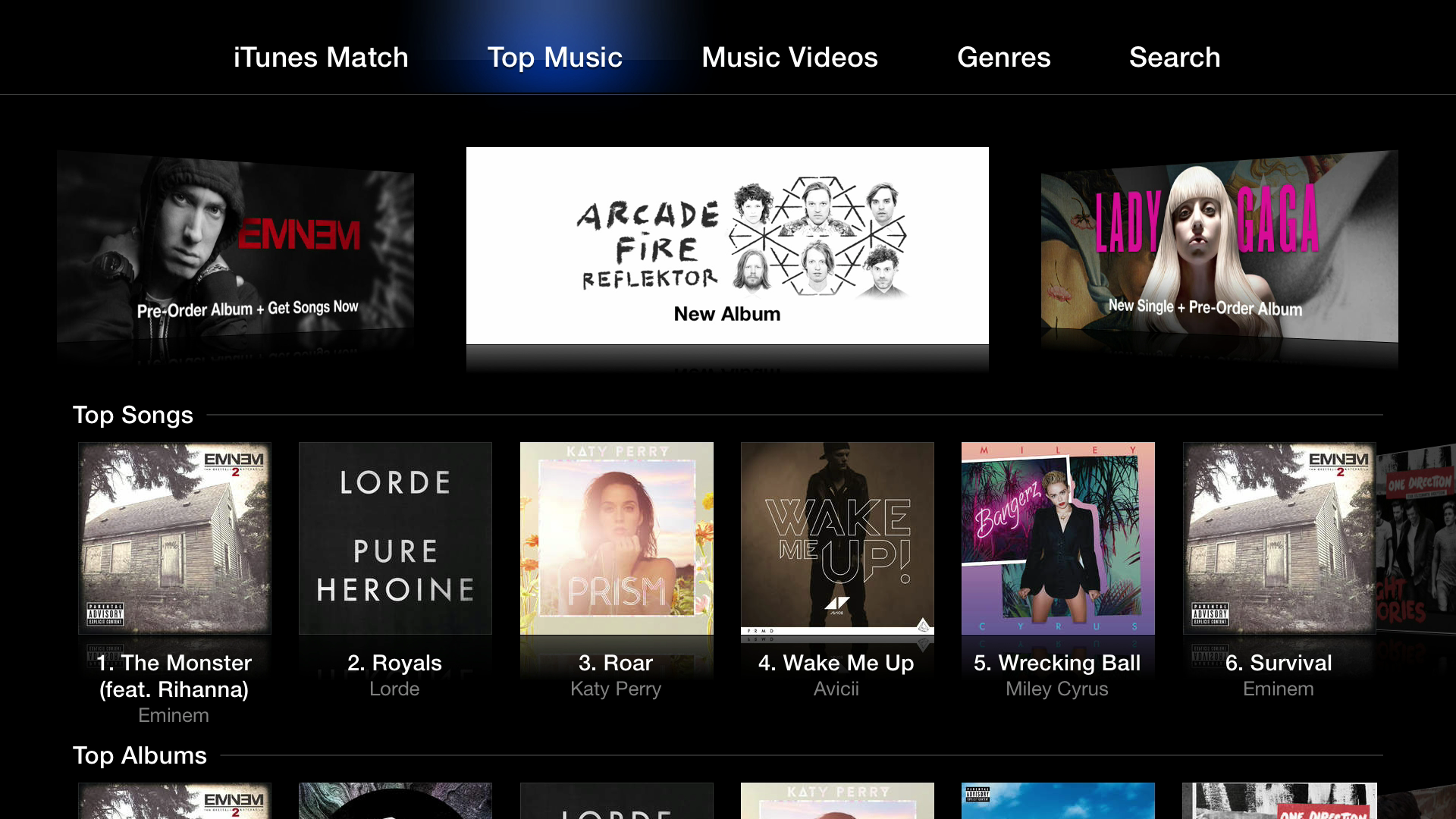 Figure 1: The Apple TV's Music app is your portal to the iTunes Store, purchased music, and iTunes Match.