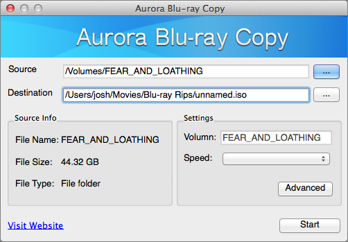 Figure 19: Aurora Blu-ray Copy is simple enough to use — just select the source disc, a destination file, and click Start.