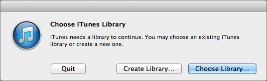 Figure 23: Hold Option as you launch iTunes to create or switch to another library.