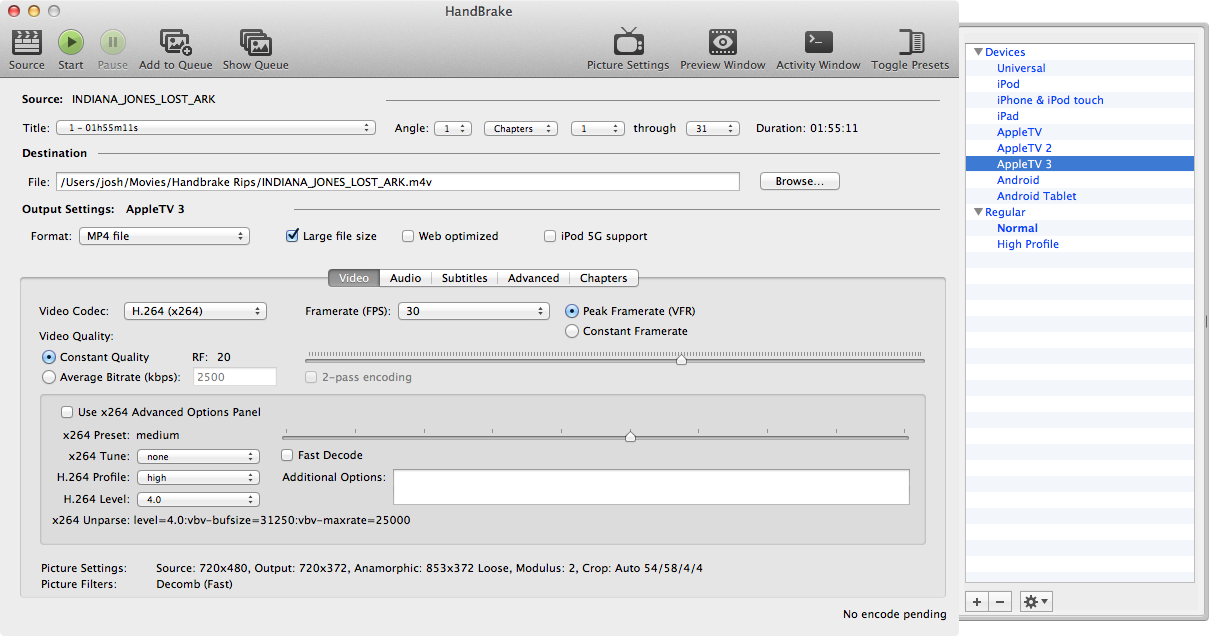 Figure 11: To start ripping a DVD in Handbrake, click Source at the left of the toolbar, and choose your DVD from the popup. Be sure to select the Apple TV 3 preset from the drawer, and then click Start.