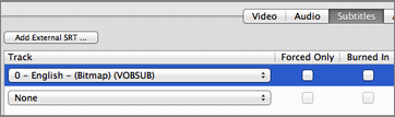 Figure 14: To add optional subtitles to your movie, in HandBrake, open the Subtitles pane, choose the desired subtitle track, and deselect Burned In.