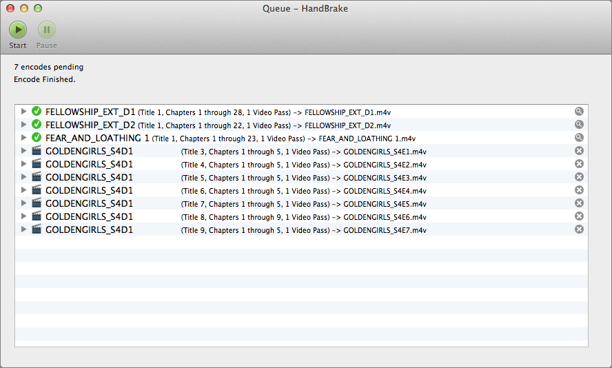 Figure 17: The HandBrake queue lets you encode multiple TV episodes from the same disc.