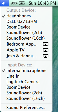 Figure 24: Option-click the volume icon in the menu bar to bring up a list of audio output options, including AirPlay receivers.