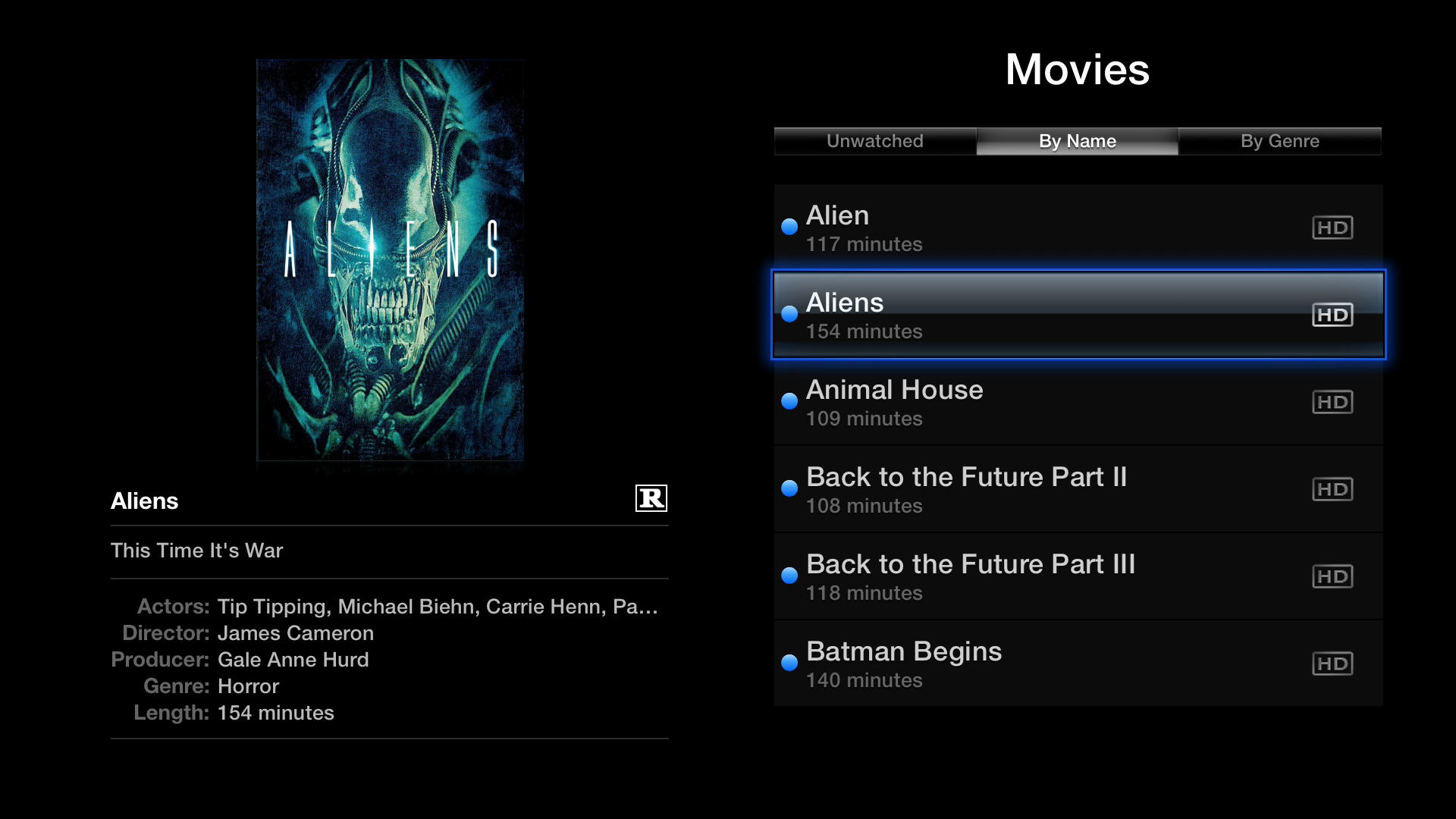 Figure 10: You can access all the movies in your iTunes library from the Apple TV, and sort them by name, genre, or see what you haven't watched yet.