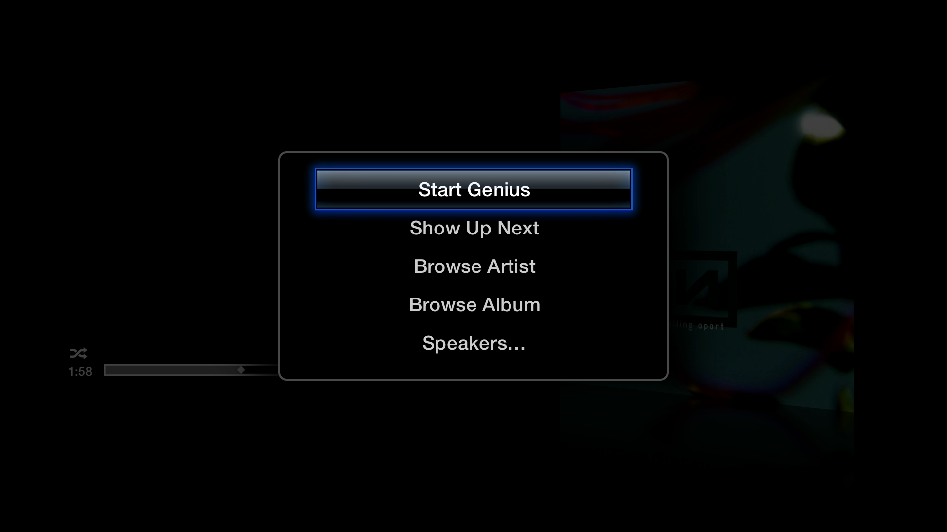Figure 6: Hold Select in Now Playing to create a Genius playlist based on the current song, show the Up Next queue, see more by the artist or the rest of the album, and control AirPlay Speakers.