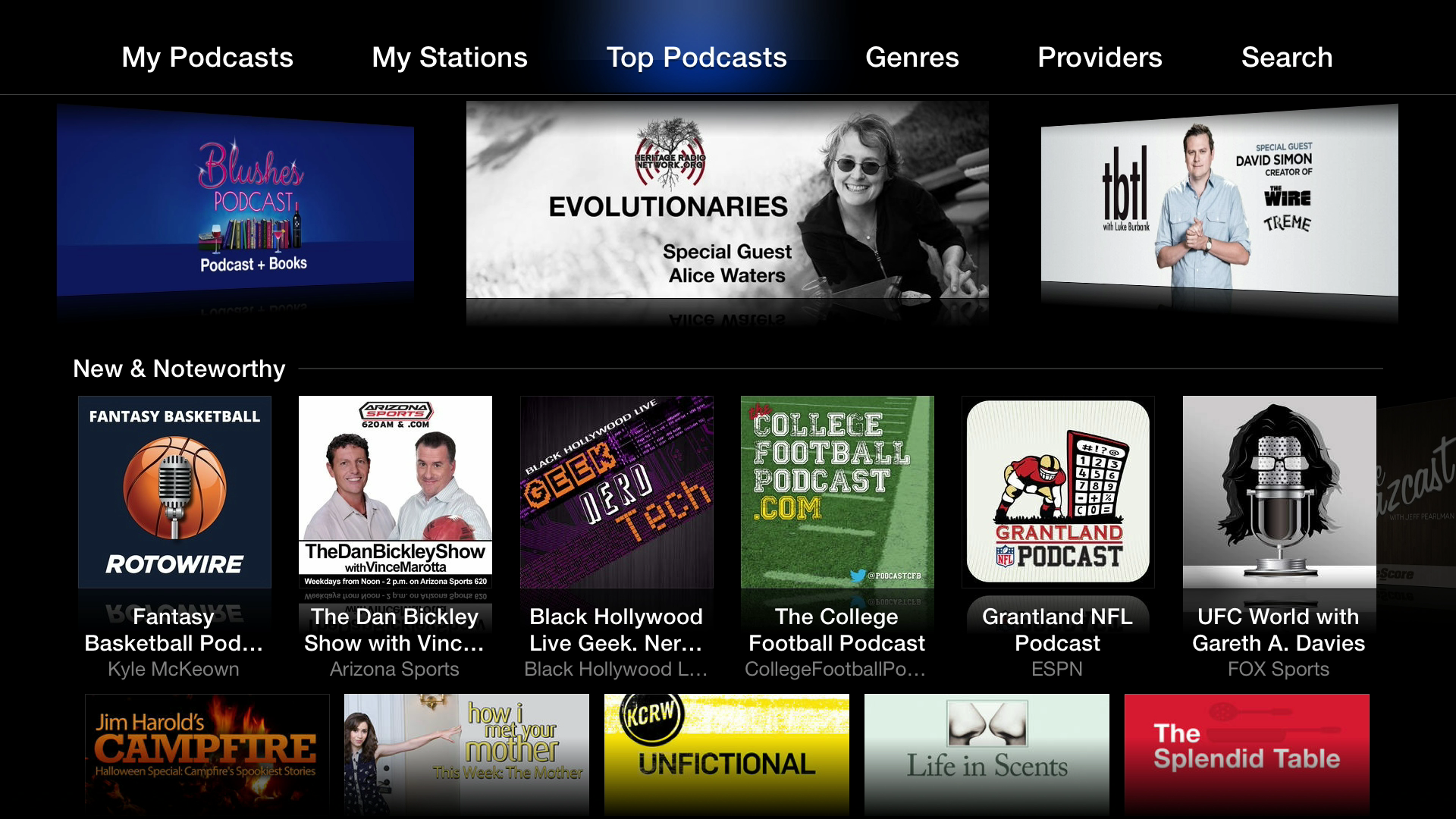 Figure 22: The Podcasts app gives you a variety of podcasts to listen to, watch, and subscribe to.