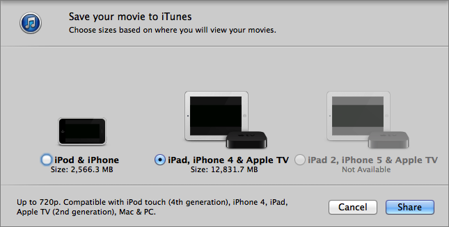 Figure 18: Unfortunately, merging movies in QuickTime requires a re-encode, and you don't have much control over the final file size.