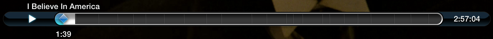 Figure 2: Press Down and then Left or Right to skip chapters. If no chapters are available, the Apple TV splits the video into 20 sections or 30-second segments, whichever is longer.