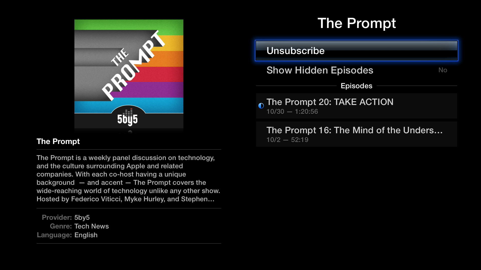 Figure 23: To unsubscribe from a podcast, select it in the My Podcasts view and then select Unsubscribe.