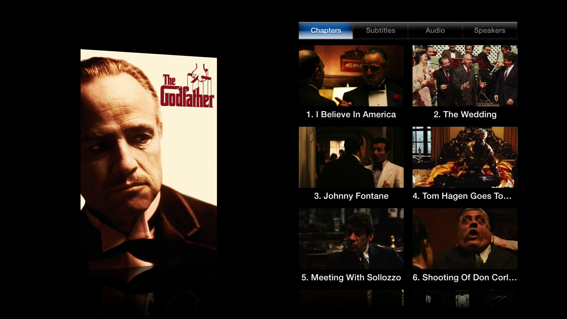 Figure 4: To see special options, such as visual chapter selection, play your video and then hold the Select button.