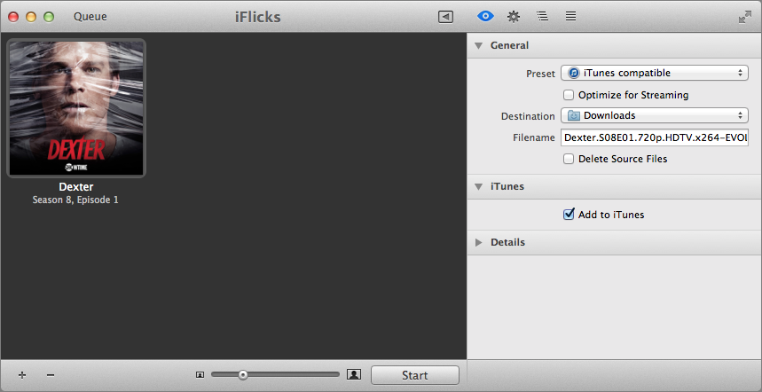 Figure 22: iFlicks can convert video as well, and in the case of this MKV file (it was meowing at the back door, honest!), it takes only a minute, because all that needs to be changed is the container, not the actual encoded movie itself.