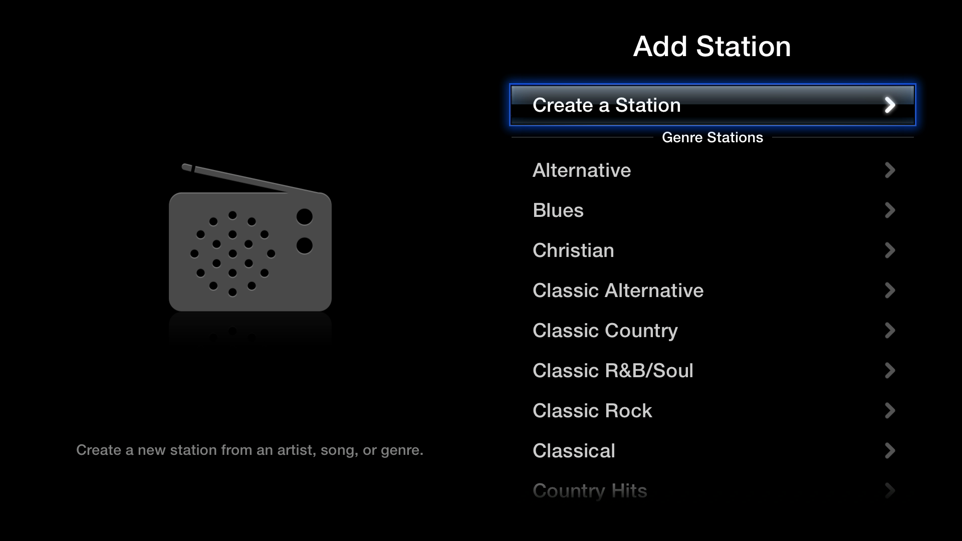 Figure 10: In iTunes Radio, you can select a preset genre station or create a custom station by searching for an artist, song, or genre.