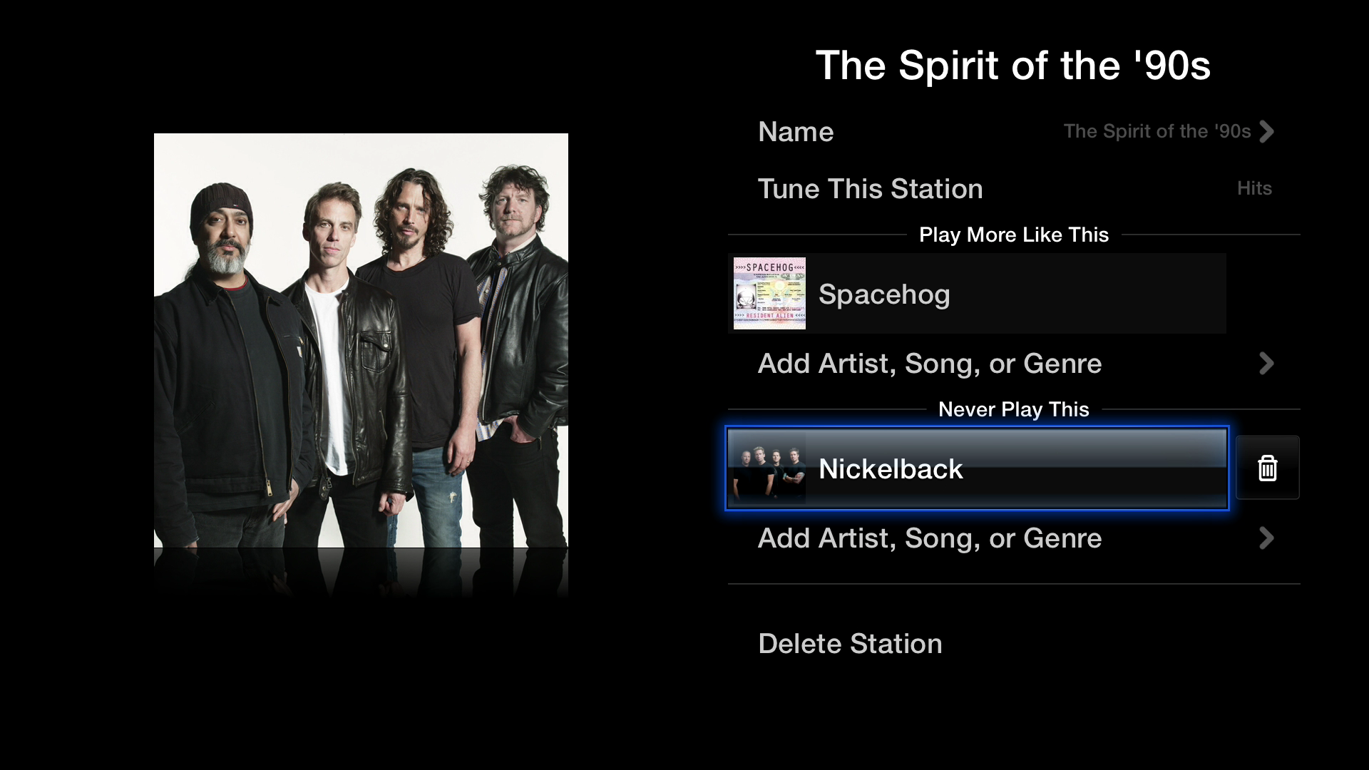 Figure 12: You can edit iTunes Radio stations directly on the TV, customizing them to your taste.