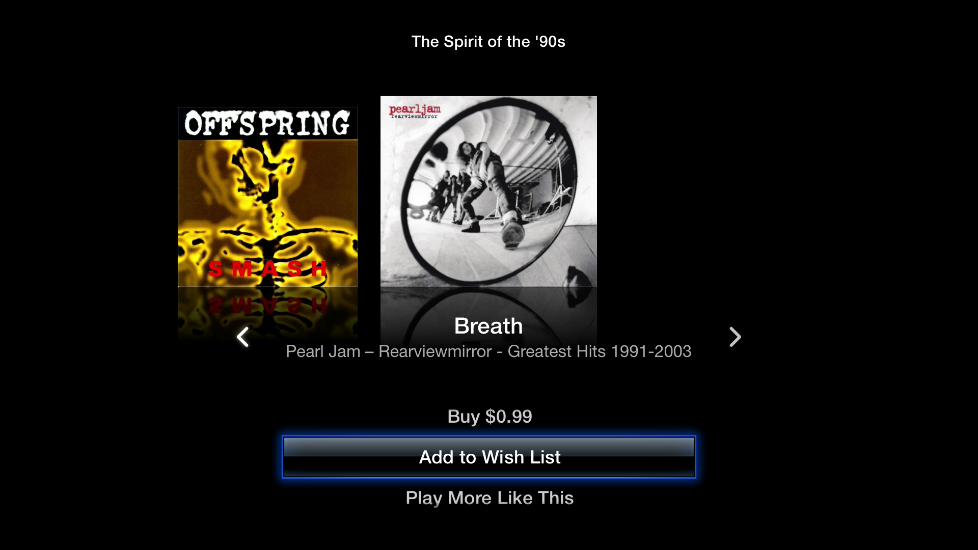 Figure 9: Press Left, Right, or Up while listening to an iTunes Radio station to bring up more options.