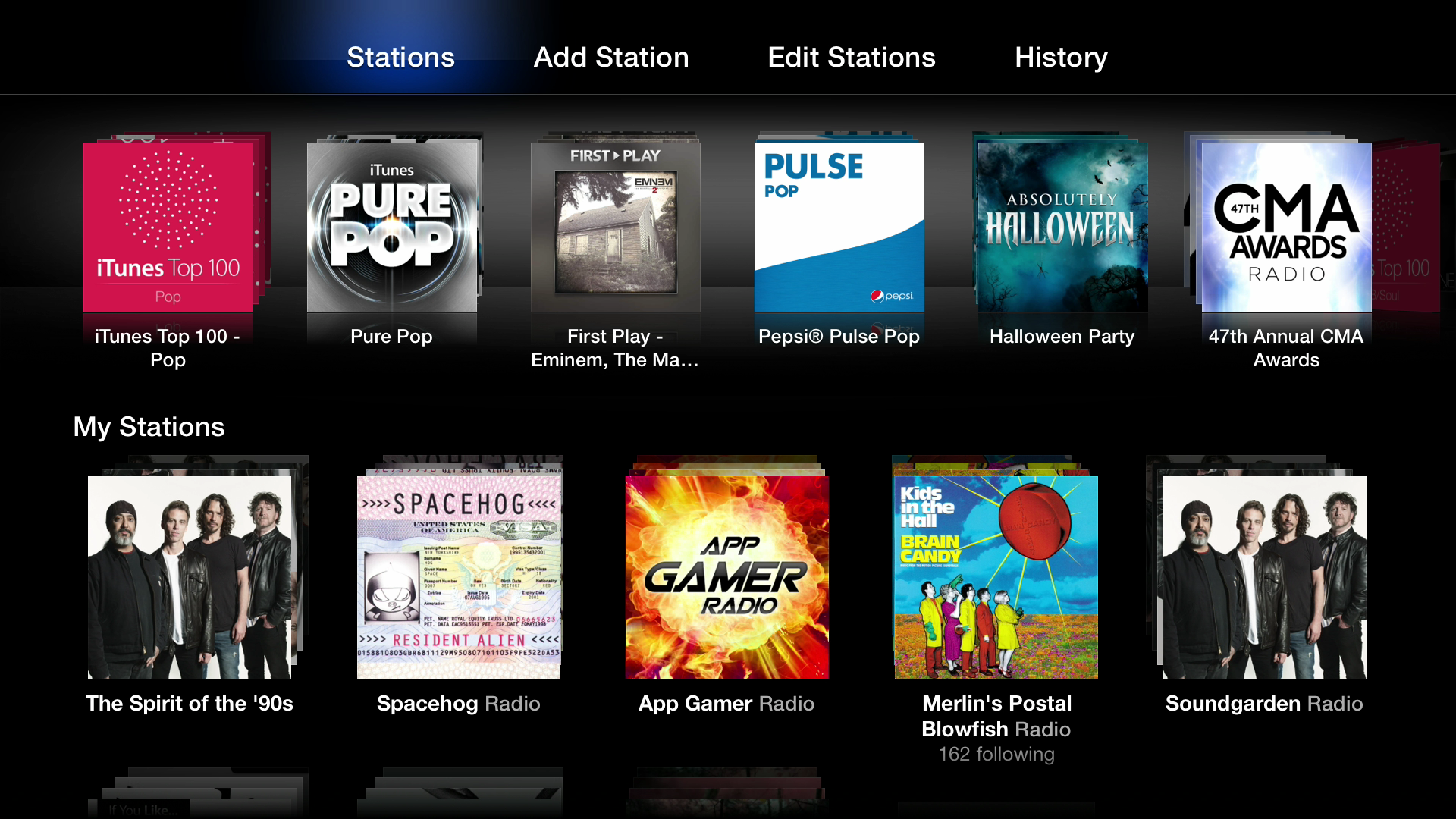 Figure 8: iTunes Radio lets you create custom radio stations and listen to prebuilt featured stations, some of which play albums before they're released.