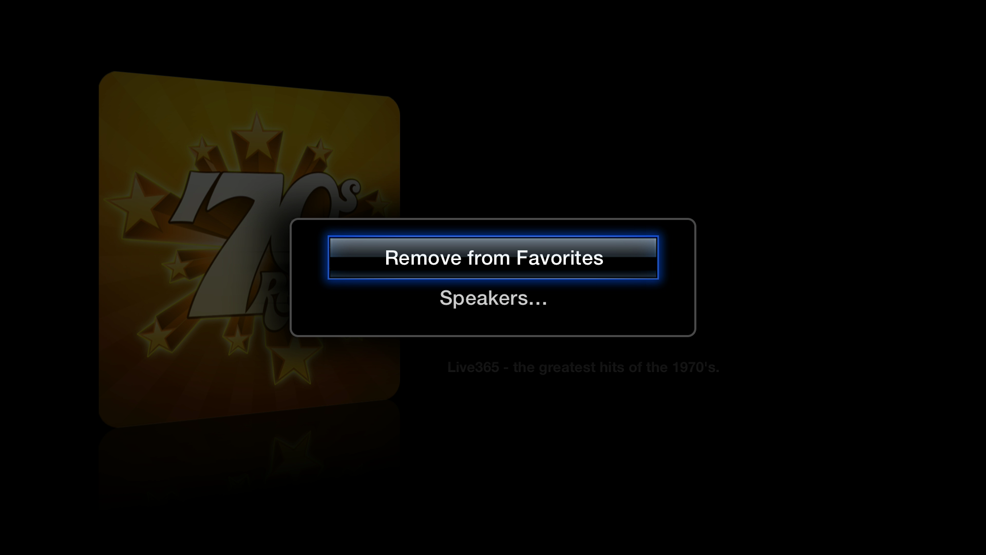 Figure 21: Hold Select while listening to a station to remove it from favorites or select an AirPlay speaker.