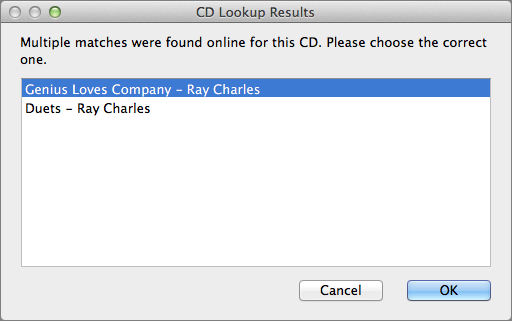Figure 16: There may be more than one metadata match for the CD you want to rip. Select the best choice when prompted.
