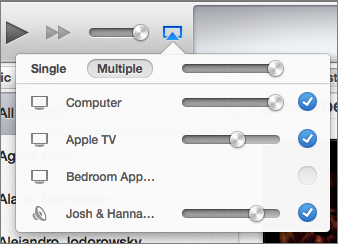 Figure 25: In iTunes, you can AirPlay audio to multiple receivers.