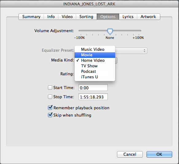 Figure 13: To put the movie into the correct category, select it in iTunes, and choose File ></span><span id=