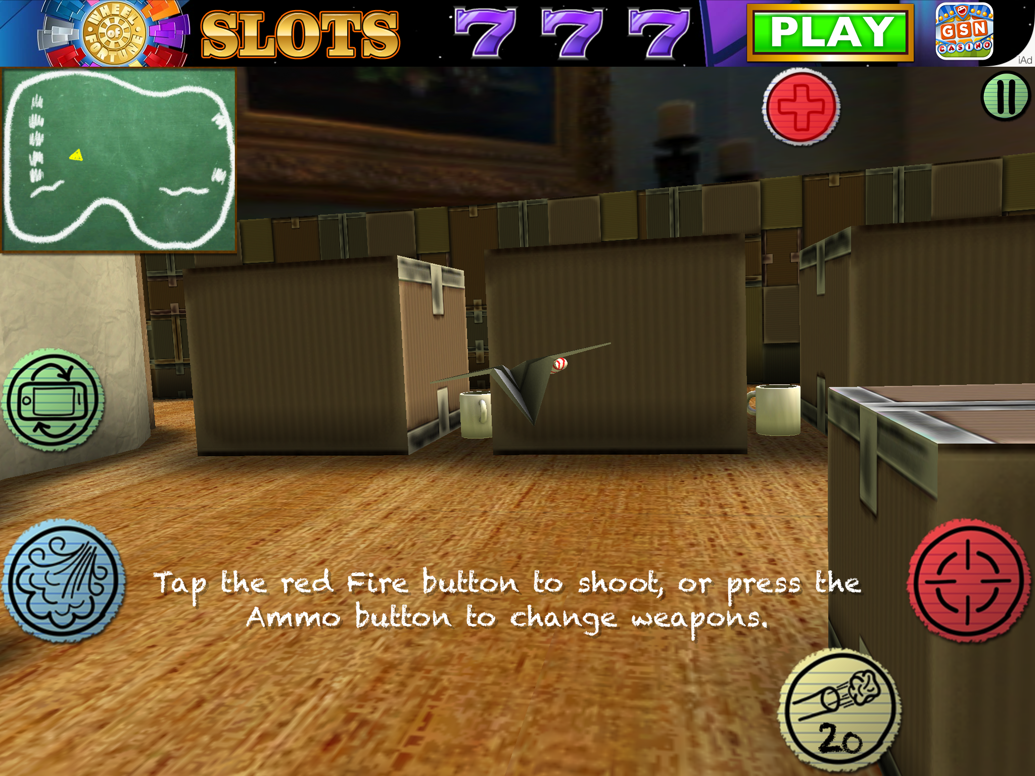 Figure 1: In Air Wings, you pit your paper airplane against other players online, shooting spitballs and pencil missiles (this screenshot shows the iPad display).
