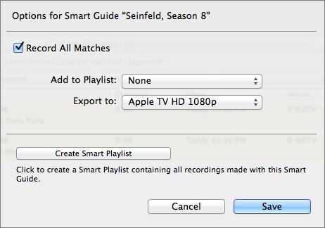 Figure 16: To export Smart Guide recordings to iTunes automatically, choose Apple TV HD or Apple TV HD 1080p from the Export To pop-up menu.
