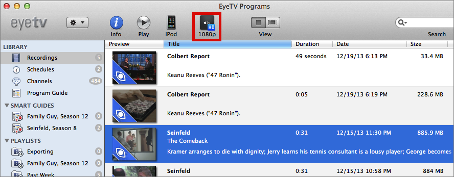 Figure 14: To export a show, select it, and click the Apple TV button (outlined in red here).