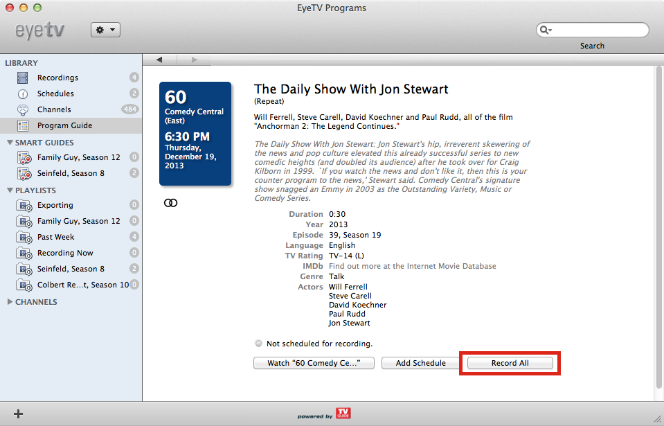 Figure 15: To record all episodes in a season of a show, double click it in the Program Guide and click the Record All button.