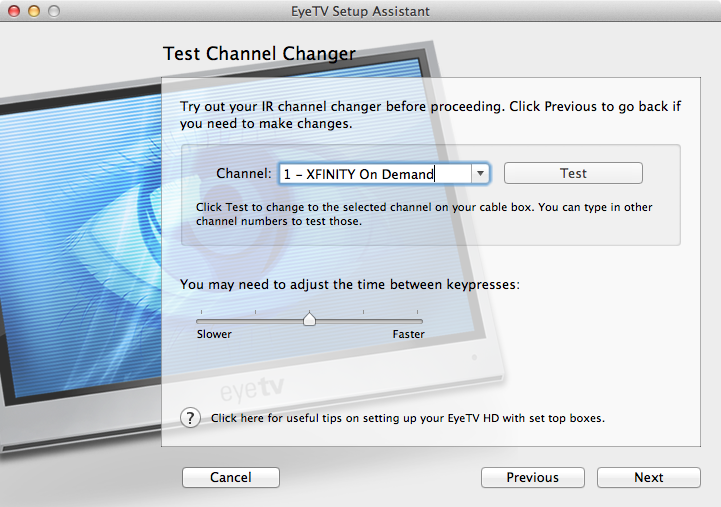 Figure 12: Test your IR blaster settings on multiple channels with different numbers of digits, like channel 1, channel 23, and channel 600. Also, try adjusting the time between key presses for faster response times.
