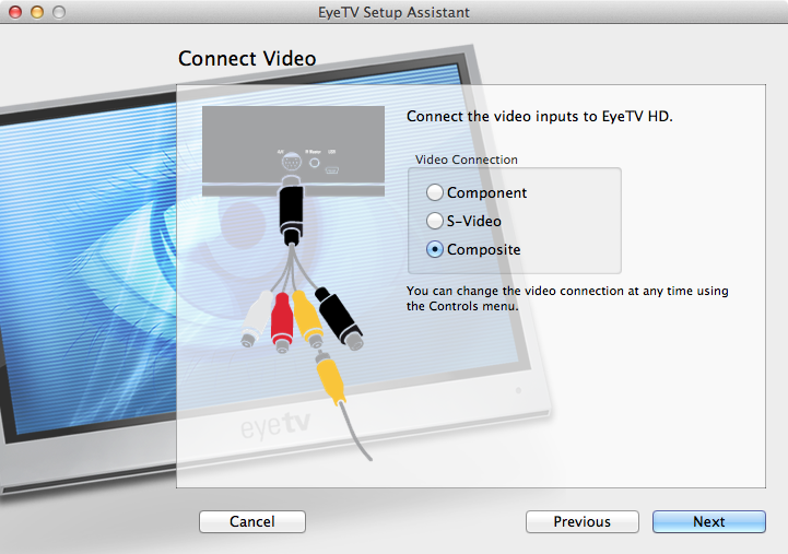 Figure 9: Be sure to choose the correct video input, or your Eye TV HD won't receive a signal!