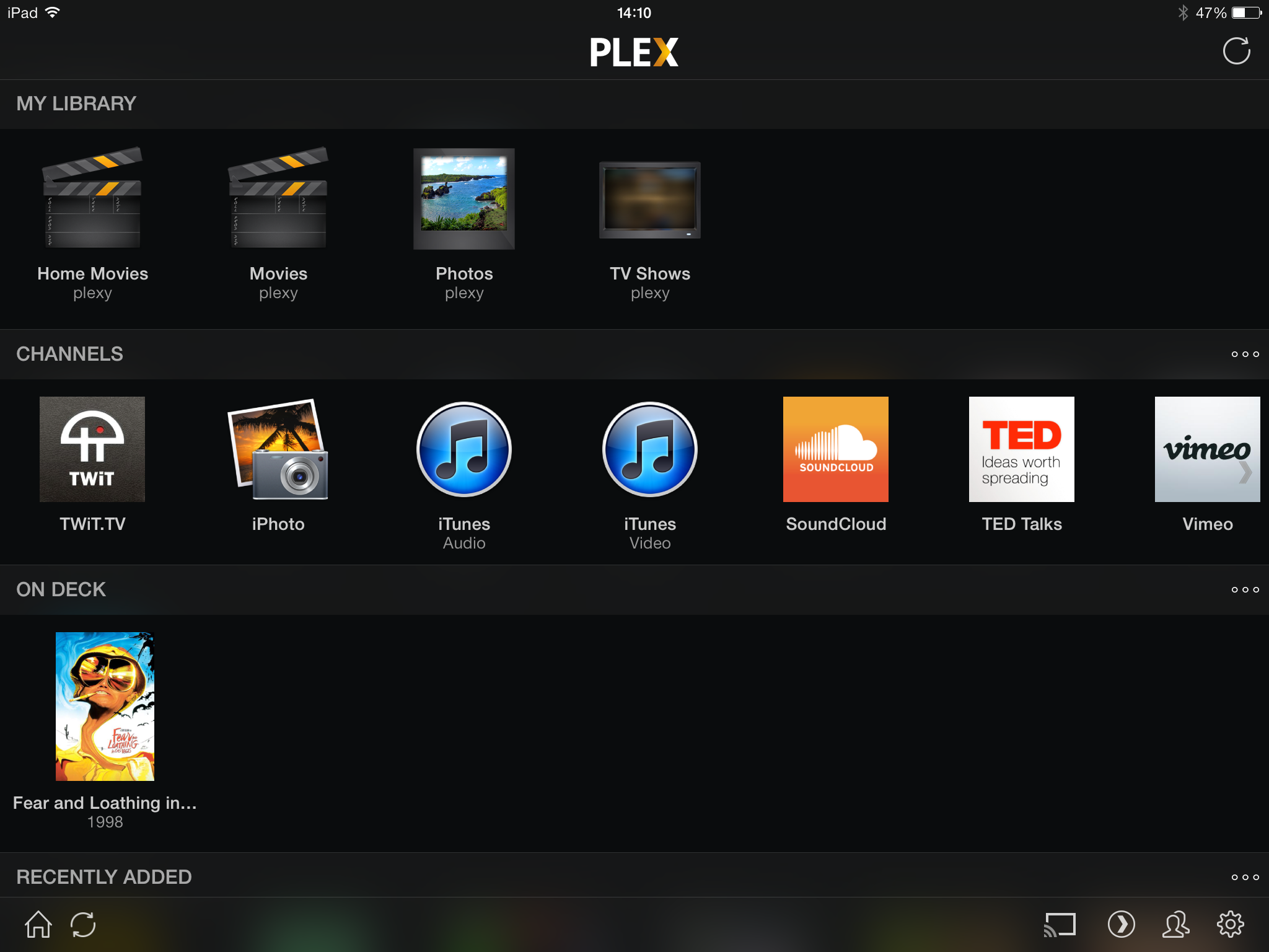 Figure 4: The Plex interface in iOS is similar to the Web client.