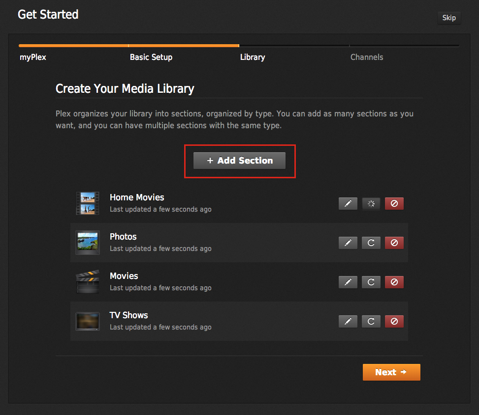 Figure 1: During the Plex Media Server setup, click the Add Section button (outlined in red) to add a new section of media. Sections you've already added are listed beneath the button.