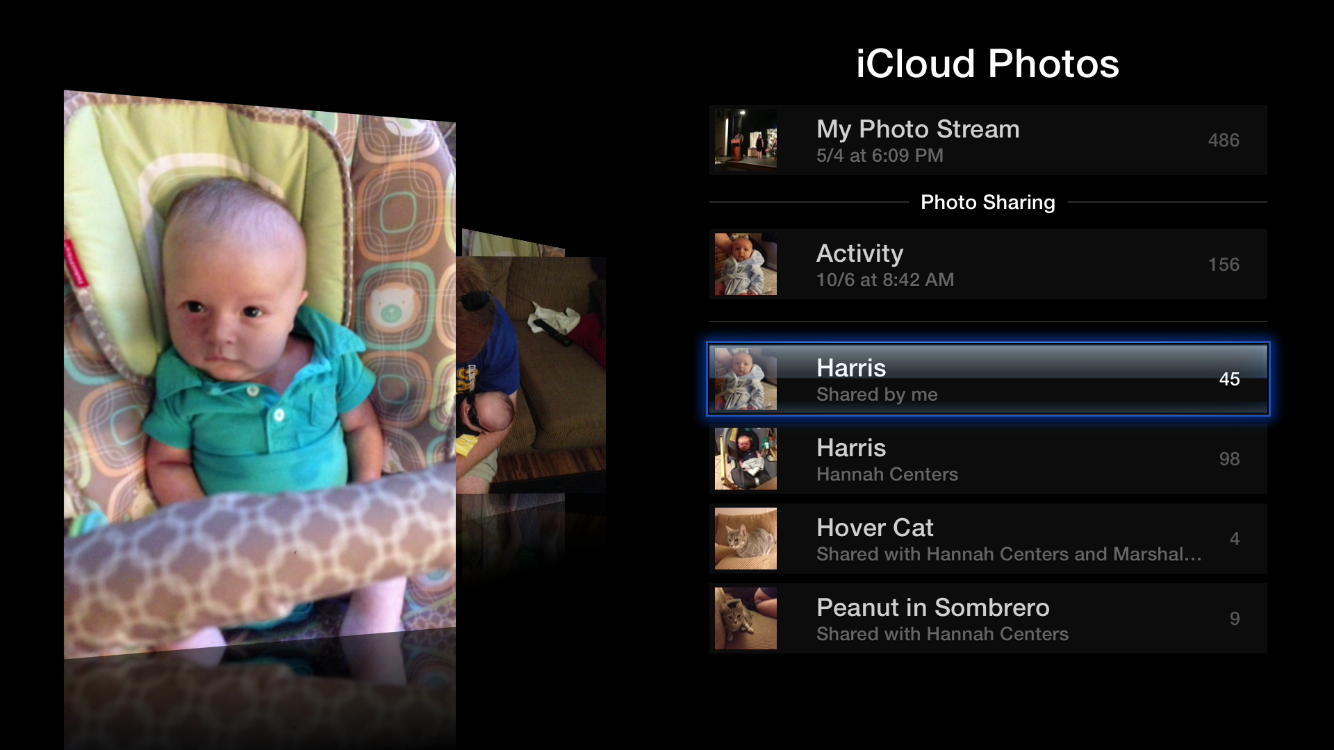 Figure 1: iCloud Photos lets you view your My Photo Stream and shared albums. In this image, a shared album is highlighted.