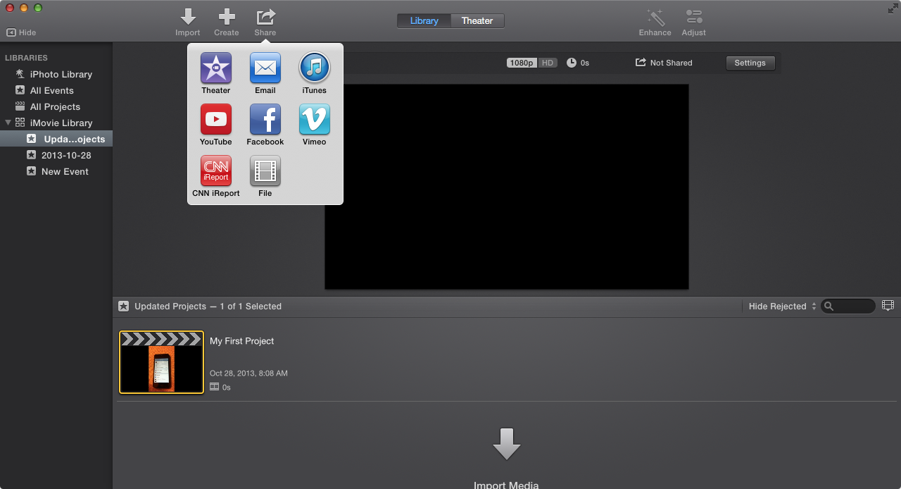 Figure 10: To send a project to iMovie Theater from the Mac, select it, click the Share button, and then click Theater.