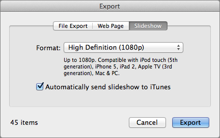 Figure 9: To export iPhoto images as a slideshow for the Apple TV, choose File ></span><span id=