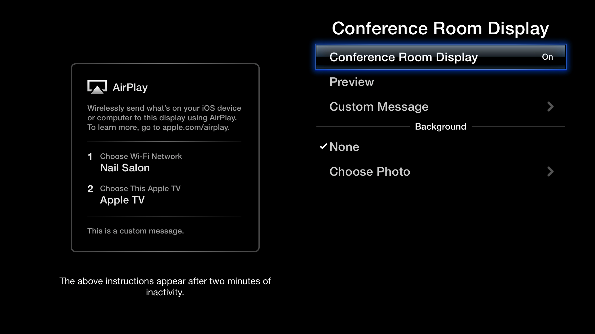 Figure 3: To enable Conference Room Display, open Settings from the main menu, choose AirPlay ></span><span id=