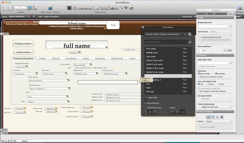 File maker lypuhelimen k ytt ulkomailla for Filemaker pro 13 templates
